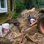 Septic Tank - Installation of sewer line in rock ledge