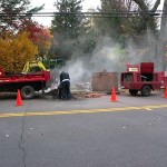 Sewer Work - Excavating street in West Hartford